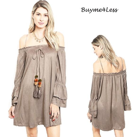 8ece61c8ed83 Bohemian Hippy Faux Suede Off Shoulder Tunic Dress